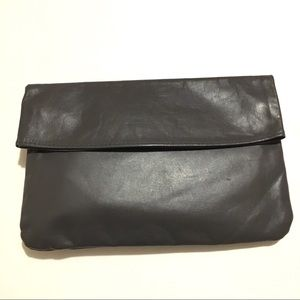 Grey Leather Clutch Wallet 9x6
